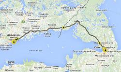 Карта трассы Санкт-Петербург-Хельсинки